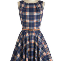 ModCloth Mid-length Sleeveless Fit & Flare Luck Be a Lady Dress in Scholar