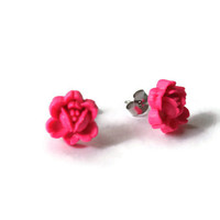 Rosebud, Rosebud Earrings, Candy Pink, Hot pink Earrings, Rose Bud, Rose Bud Earrings, Stud Earring, Polymer Clay, Stud Earrings, Studs