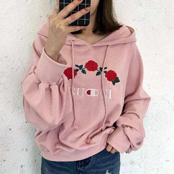 DCCKJ2X GUCCI Hot Sale Embroidery Rose Flower Blouse loose type Hoodie Sweatershirt Black