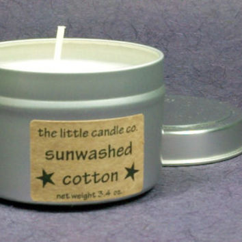 Sunwashed Cotton Soy Candle Tin - Hand Poured and Highly Scented Container Candles