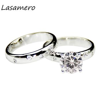 LASAMERO 2.0ct Round Cut Moissanites Center Solid 14k White Gold Wedding Sets Anniversary Ring Lab Grown Diamonds Bridal Sets