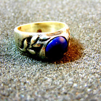 Stunning men's vintage statement ring-Silver and lapis men vintage ring-Man statement silver 925 ring-Men leaf silver ring-Artisan jewelry