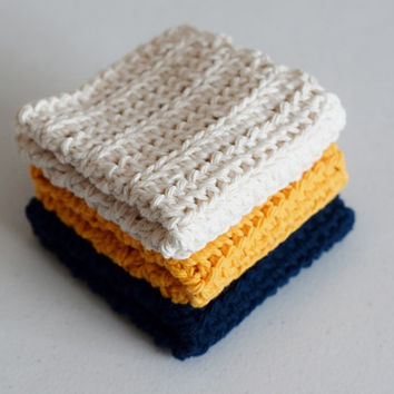 Crochet Dishcloths in Cream, Navy, and Gold - Set of 3 - Handmade Cotton Washcloths - Home Made Dishrags for the Kitchen