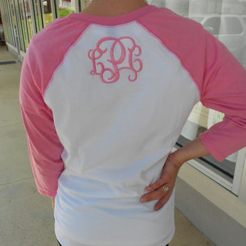 Three quarter Sleeve Raglan Tee Monogram on BACK Font Shown INTERLOCKING