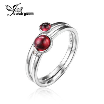 JewelryPalace 0.8ct Fuchsia Genuine Garnet Band Stackable Ring Sets 925 Sterling Silver 2016 New Fashion Fine Jewelry For Women