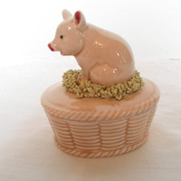 Fitz and Floyd Pig Box Jewelry Holder Trinket Box Easter Piggy