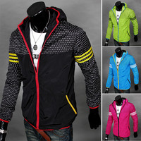 Men's Dotted Windbreaker Jacket with Hood