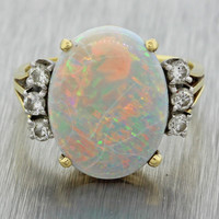 1970s Vintage Estate 18k Solid Yellow Gold Large Opal .30ctw Diamond Ring