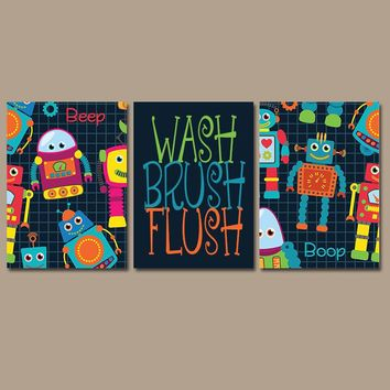 ROBOT Bathroom, ROBOTS Wall Art, Kid Bathroom, Wash Brush Flush, Robot Theme, Shared Child Bathroom Decor, Brother Sister Bathroom, Set of 3