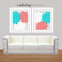 Turquoise, Coral, Flower Wall Art, Set of 2, Printable Home Decor, Abstract Art, Printable, 8x10, 16x20 poster, Nursery Art, Art Print Set