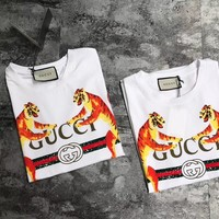 """""""Gucci"""" Unisex Fashion Double Tiger Letter Print Short Sleeve Couple Casual T-shirt Top Tee"""