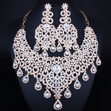 Moroccan style Statement Necklace Earrings set with Crystal Rhinestones Luxury Bride Wedding Jewelry sets