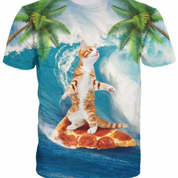 Cat Surfing On Pizza - All Over Print T-shirt