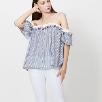 LE3NO Womens Striped Short Sleeve Off Shoulder Tassel Blouse Top
