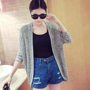Fall Korean Women Solid Color Loose Cardigan Sweater Air conditioning Tops