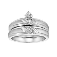 Love Always Diamond Accent Engagement Ring Set in Sterling Silver (White)
