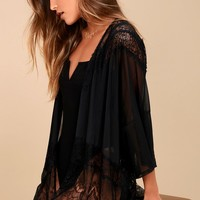 Sweet Nothings Black Sheer Lace Kimono Top