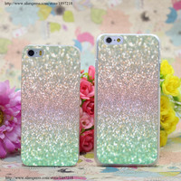Sea Mist Shimmer Transparent Hard Case Cover for iphone 6 6s plus 4 4s 5 5s 5c Clear Phone Cases