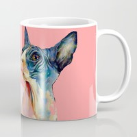 cat, pink Mug by franciscomffonseca