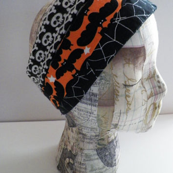 Happy Halloween from the Holiday Collection Headband Wardrobe Set of Three Spiderwebs Skulls Bats