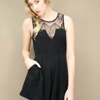 black lace romper with an angular sweetheart neckline and lace yoke | shopcuffs.com