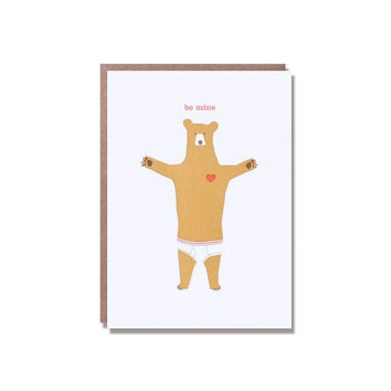 Be Mine Bear in Underwear Card