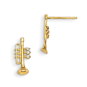 14K Yellow Gold CZ Stone Accent Musical Trumpet Girls Stud Earrings