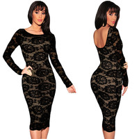 Cut-out Back Long Sleeve Floral Lace Bodycon Midi Dress