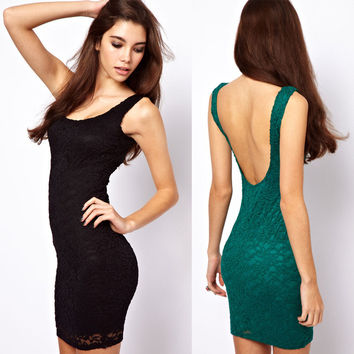 Lace Female Slim New Arrival Women's Fashion Backless One Piece Dress = 5826363905