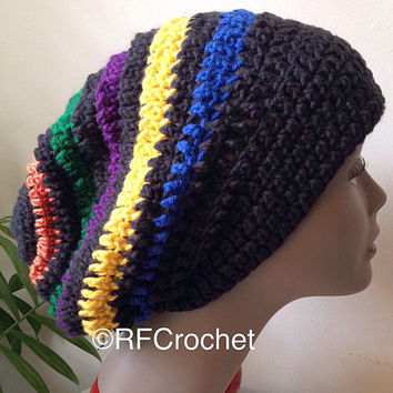 Black and Multicolor Slouchy Beanie | Adult Beanie | SOFT | Primary Colors |  | Bad Hair Day | Crochet Slouchy Hat