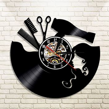 1Piece Hairdresser's Profession Vintage Vinyl Record Wall Clock Barber Shop Modern Wall Art Great Gift Ideas For Salon Store