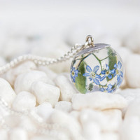 Forgetmenot Necklace, flower Resin Pendant real flower, real  Forgetmenot resin pendant on silver chain, Forgetmenot jewelry for woman