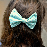 Teal and White Gingham Bow