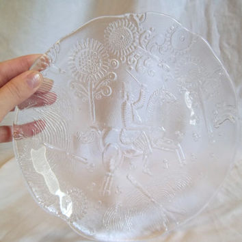 Vintage Swiss Made Glass Platter Cheese Plate