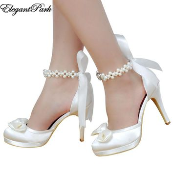 Woman Bridal Wedding Shoes White Ivory High Heel Platform Round fed94bb41474