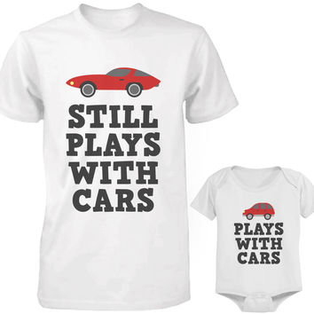 Daddy and Baby Matching White T-Shirt / Onesuit Combo - Plays With Cars