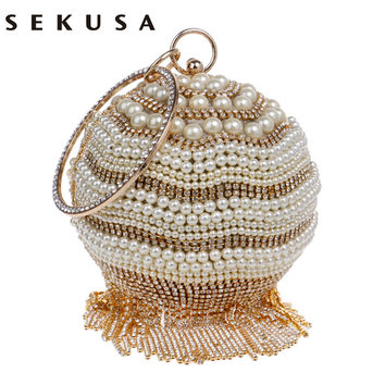 Fashion Pearl Women Evening Bags Tassel Rhinestones Lady Clutch Diamonds Metal Beaded Wedding Bridal EVENING BAGS