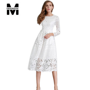 Merderheow New European  Spring Women's Lace Hollow Out Long Dresses Femme Casual Clothing Women Sexy Slim Party Dress L13