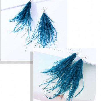 Light Feather Earring  Long Ostrich Feathers Fur 9 Colors
