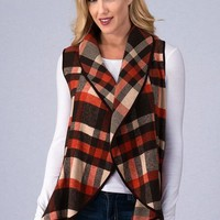 Plaid Fall Vest - Rust