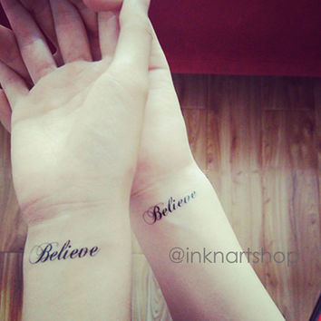 2pcs Believe script tattoo - InknArt Temporary Tattoo - set wrist quote tattoo fake tattoo wedding tattoo small