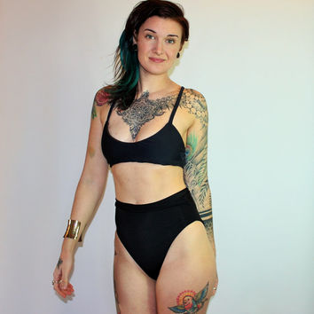 Custom Extra High French Cut High Waist 80's Bikini Swimsuit Bottoms /Any Size /30+ Colors and Prints /Made to Measure
