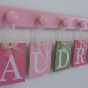 Children Decor Names, Baby Nursery Wooden Wall Letters for AUDREY with 6 Peg Rack Pink and Green