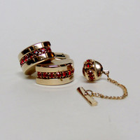 Vintage Sarah Coventry Red Rhinestone Cuff Links & Tie Tack Set