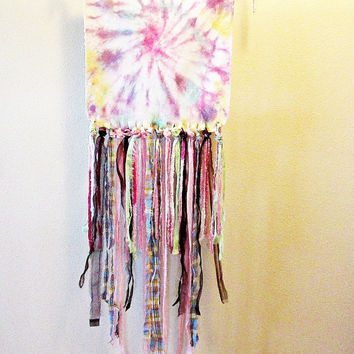 Nursery Wall Hanging, Little Girl Decor, Pastel Baby Room, Colorful Tie Dye Decor, Rag Tie Artwork, Baby Shower Gift, Gypsy Tapestry, Hippie