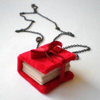 FREE SHIPPING red book necklace book jewelry red by papirell