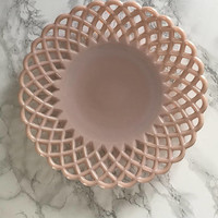 Vintage Pink Milk Glass Platter with Lattice Edge
