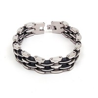 Stainless Steel Bracelets 316L Genuine Link Chain with Black Rubber Accents