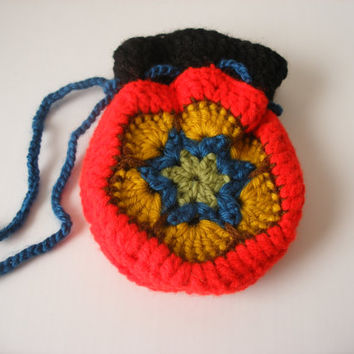 Crocheted Amulet Pouch, Stash Bag, Coin Purse, Hippie Sack, Festival Gear, Handmade Boho Bag, Red Black Blue, African Flower, Hippy Gift