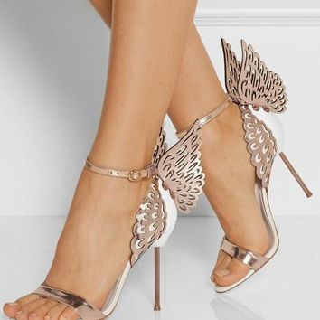New Design Glittering Paillette Butterfly Stiletto Heels Dress Sandals Trendy Women Line Buckle Style Dress Shoes Unique Sandals